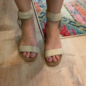 UGG Strappy Sandals with Gold Flecks